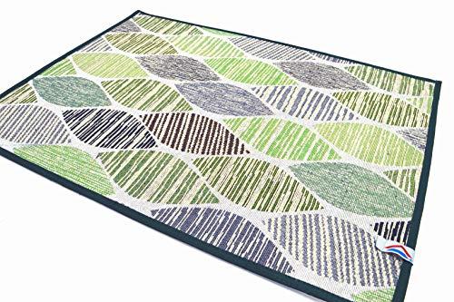 Fiorenza Tappeto decorato, Passatoia 50cm per Cucina e Bagno, Lavabile, Antiscivolo, con bordo in cotone (Green, 50x70cm)