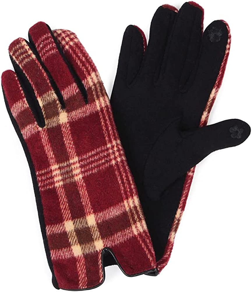 ScarvesMe Women's Classic Plaid Check Pattern Winter Warm Soft Touch Screen Gloves