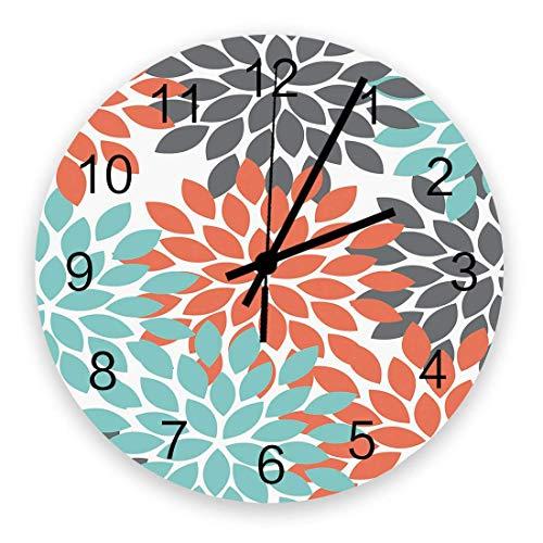 Wanduhr Dahlie Blume Holz Uhr leise nicht tickend Röntgenblüte abstrakte Blumenart Runde Uhr batteriebetrieben dekorative Wanduhr – 25,4 cm