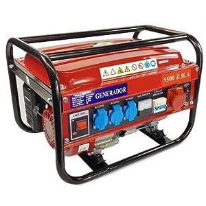 SVE Generador Eléctrico Gasolina 15L 5500W 230/380V 4 ENCHUFES (2500W Trifásico 3000W Monofásico) Motor 4 Tiempos