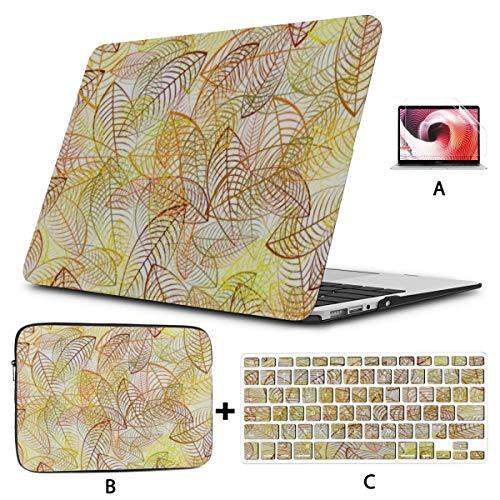Estuche para Macbook de 13 Pulgadas Transparente Dorado Otoño Temporada Hojas Protector de Macbook Carcasa Dura Mac Air 11'/ 13' Pro 13'/ 15' / 16'con Funda para portátil para M