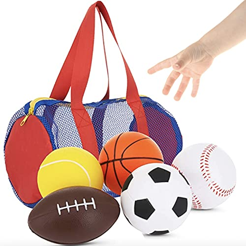 Balls for Kids, Toddler Sports Toys - Set of 5 Foam Sports Balls + Free Bag - Perfect for Small Hands to Grab - Ball Toys for Toddlers 1-3, Foam Balls for Kids - Baby Soccer Ball, Baby Sports Balls