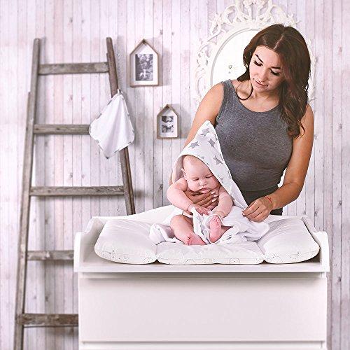 LULANDO Bath Towel For Children 80 cm x 100 cm + Bath Sponge 25 cm x 25 cm Standard 100 by Oeko-Tex (Grey Stars / White)