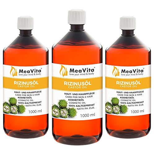 MeaVita Rizinusöl - 100{6921df654aac8447c3e0ecc57fb4a21e67cffeb65a7f5559a3705c2d67f1cf16} reines kaltgepresstes Öl, nativ Ph. Eur., 3 x 1000 ml, Wimpern Serum, Haaröl, natürliche Haarpflege