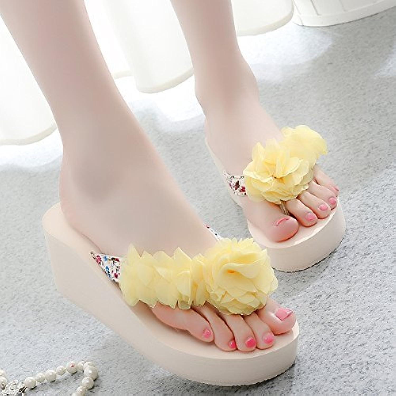 HhGold Frauen Flip-Flops Flip-Flops Hausschuhe Rutschfeste Dicke Unterseite High Heel Flowers Beach Oberbekleidung (Farbe   Gelb, Größe   7 US 37.5 EU 4.5 UK)  erschwinglich