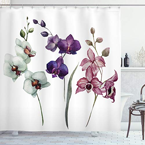 Ambesonne Watercolor Flower Shower Curtain, Different Orchid Flowers on Clear Background Exotic Blooms, Cloth Fabric Bathroom Decor Set with Hooks, 84' Long Extra, Rose Purple