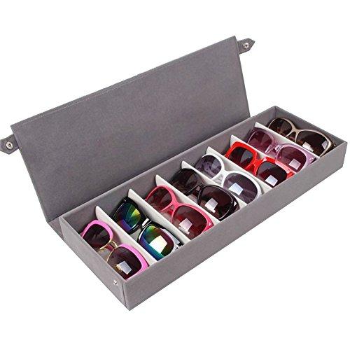 Fittoway - Caja organizadora con 8 compartimentos para gafas de sol, color gris