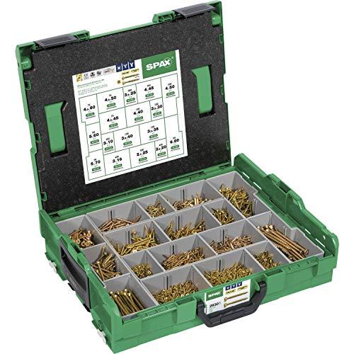 Maletín de tornillos Spax para montaje compatible con maletas Bosch. L-Boxx. Maleta grande de puntas y tornillos Spax Yellox A2L T Star Plus de cabeza avellanada.