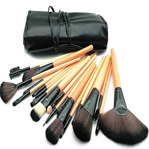 BaoYPP Ensembles de pinceaux de Maquillage Ensemble de 24 pinceaux de Maquillage en Bois Couleur Noir Rose Outil de beauté Sac de Pinceau à Maquillage Idéal pour Pro et Utilisation Quotidienne