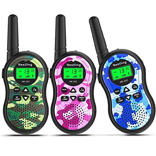 Nestling Walkie Talkie Bambini,8 Canali 2 Way Radio Ricetrasmittenti e VOX Scansione Auto,Torcia con LED (3 Pezzi Camouflage,Rosa,Blu,Verde)
