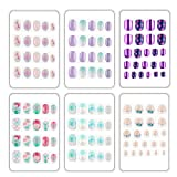128pcs Fake Nails for Kids Easy Press On Blue Sea Mermaid With Glue on False Nails for Girls Birthday Party Holidays Gift 3-12 years (K)