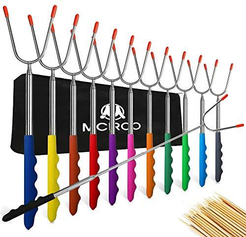 M MCIRCO Marshmallow Roasting Sticks,Set of 12 Pack 45'' Telescoping Smores Skewers Hot Dog Extending Stainless Steel Forks for...
