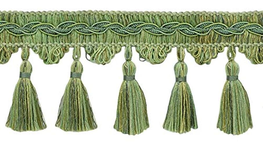DecoPro 5 Yard Value Pack of Veranda Collection 3.5 Inch Tassel Fringe Trim - Green Mist, Sage Green, Pale Green, Style# VTF035, Color: Sagebrush - VNT32 (4.5M / 15 Ft)