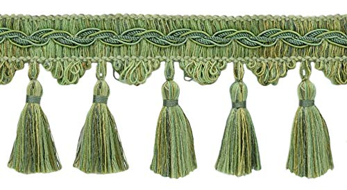 Olive Grove 0300VB|Color Medium Gold|Style# VNT15|Sold by The Yard D/ÉCOPRO Veranda Collection 3 inch Brush Fringe Trim|Artichoke Green