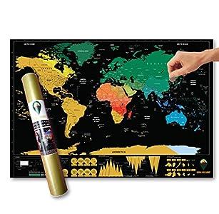 Global Walkabout - Póster de mapa del mundo para rascar con fondo de colores - Tamaño de viaje - Países y datos - Regalo de viaje