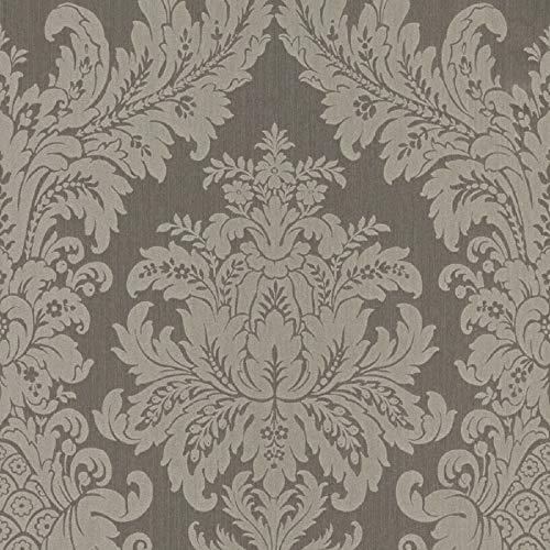 Casa Padrino Barock Textiltapete Grau 10,05 x 0,53 m - Luxus Wohnzimmer Tapete