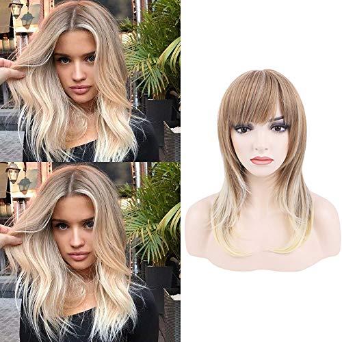 Queentas® Honing Blond naar Blond Natuurlijke Rechte Pruik Hittebestendige Synthetische Vezel Haarstukken Volledige Pruik met Platte Bang