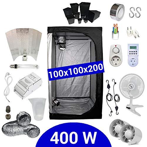 Kit de cultivo interior 400W SHP Stuko - Armario 100x100x200 - Balastr