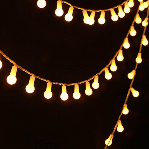 Uping Strisce di Luci LED, Catena Luminosa, Globo, Luce Calda Bianca, Impermeabile, 4,5 Metri, 50 Singoli LED, Decorativa da Interni e Esterni, anche per Festa, Giardino, Natale, Halloween, Matrimonio