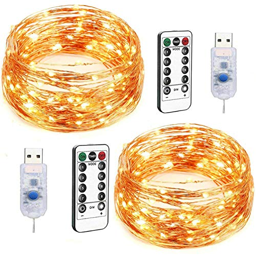 LED String Lights, 2 Pack 100 LED USB Plug in Fairy Lights, 33ft 8 Modes Dimmable Copper Wire Lights with Remote Control, Twinkle String Lights for Bedroom Patio Parties (Warm White)