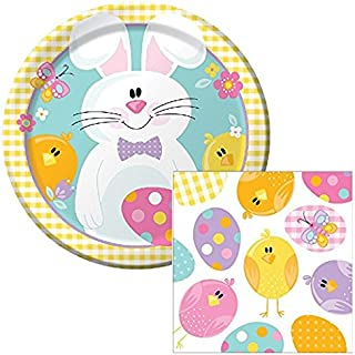 Happy Easter Picnic Lunch Plates & Napkins Party Kit for 8