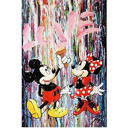 Carteles De Dibujos Animados De Disney Mickey Y Minnie Mouse Lienzo Graffiti Arte Carteles E Impresiones Cuadros De Pared para Decoración del Hogar 40 * 60 Cm Sin Marco