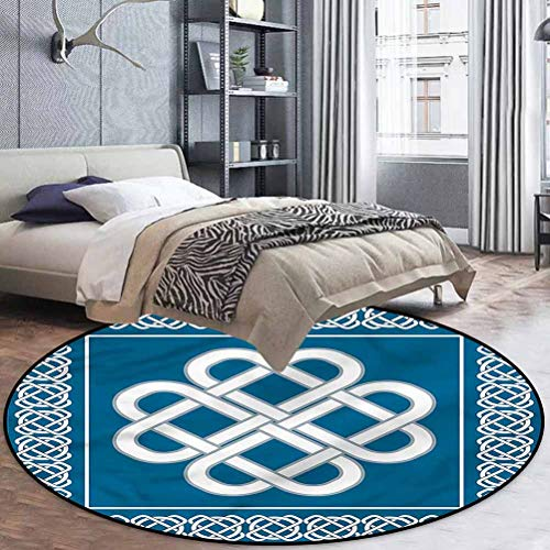 Irish Polyester Printed Pattern Round Rug for Any Room Celtic Love Knot Symbol 4'3' in Diameter
