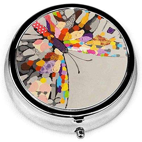 Painting Butterfly in Ink Custom Fashion Round Pill Box Compact 3 Space Tablet Holder