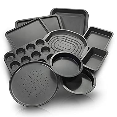 ChefLand 10-Piece Nonstick Bakeware Set | Kitchen Baking Pans | Non Stick Coating, Durable Carbon Steel, Dishwasher Safe | Oven Crisper, Pizza Tray, Cake Pans, Cookie Sheet, Muffins, Bread Loaf Pan