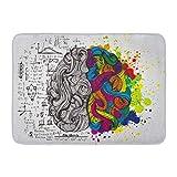 MARIODP Alfombrilla De Baño Antideslizante Puerta Derecha Creativa del Cerebro Humano Mente Izquierda Psicología Lluvia de Ideas Idea 15.8'x23.6'
