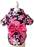 MaruPet Japanese Kimono for Girl Floral Pet Halloween Costume Bowknot Dog Dress for Small, Extra Small Dog Wiener Dog Teddy, Pug, Chihuahua, Shih Tzu, Yorkshire Terriers, Papillon Black XL
