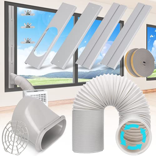 """Kerykwan Portable Air Conditioner Window Door Kit with 5.9"""" Exhaust Hose Adjustable AC Vent Kit for Ducting Universal AC Seal Panel for Horizontal&Vertical Window"""