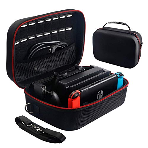 Carrying Storage Case for Nintendo Switch,Protective Travel Hard Shell Messenger Bag for Switch Console, Pro Controller, Accessories Switch Dock, AC Adapter,16 Game Cards and Shoulder Strap