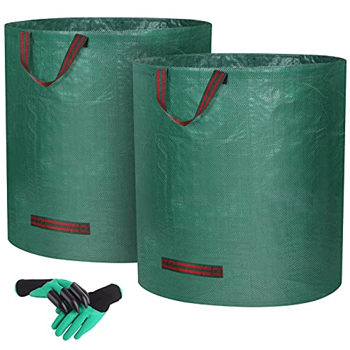 Zovator 2er Set Gartensack 272L Gartenabfallsack aus Robustem Wasserdichtes Polypropylen-Gewebe (PP), Selbststehend und Faltbar Laubsäcke, inkl1 Paar Gartenhandschuhe