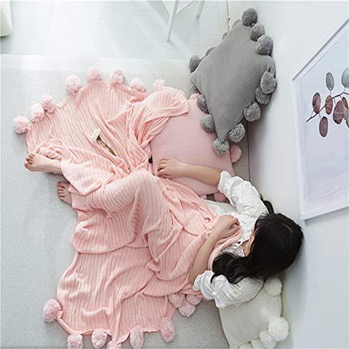 ZSKJ Air Conditioner Four Seasons Blanket, Nordic Wind 100% Cotton Thread Weaving - Adecuado para Interior o Exterior, Mantas para Adultos o niños (Rosa)