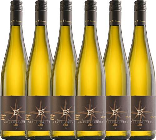 VINELLO 6er Weinpaket Weißwein - Grauburgunder trocken 2019 - Ellermann-Spiegel mit Weinausgießer | trockener Weißwein | deutscher Sommerwein aus der Pfalz | 6 x 0,75 Liter