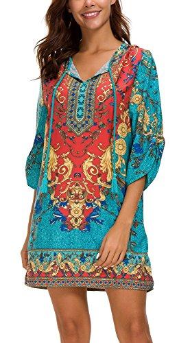EXCHIC Damen V-Ausschnitt Tunika Sommer Strandkleid Minikleid Bohemian Kleider (L, 2) …