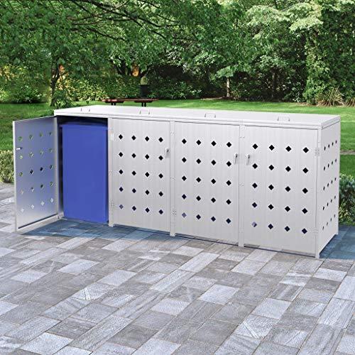 Festnight Mülltonnenbox für 2 Tonnen 240 L mülltonnenverkleidung |mülltonnenbox Edelstahl abschließbar