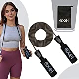AXEL Jump Rope Black Colored with Adjustable PVC Coated Steel Wire EVA Memory Foam Grips and In...