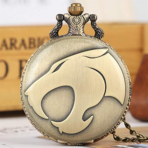 FHLKP Kühle Panther Kopf Display Quarz Taschenuhr Bronze Halskette Anhänger Kette Antikschmuck Unisex Uhr