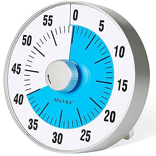 Secura 7.5-Inch Oversize Visual Countdown Timer, 60-Minute Kitchen Timer | Time Management Tool for Kids, Teachers and Adults (Blue)