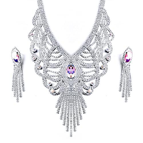 Set di gioielli per le donne, Set di orecchini con pendente a forma di Y o V per collana, Gioielli per feste di matrimonio per damigella d'onore da sposa con abito da sposa (A)