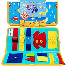 MAKSTEP Toddler Busy Board – Montessori Toys for Toddlers Babies – Buckle Zipper Buttons – Educational Toy for 2 3 4 Year Old Boys Girls Kids – Learning Toy. Fine Motor Skills. Sensory Board