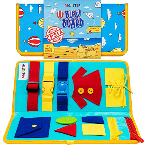 Toddler Busy Board - Montessori Toys for Toddlers Babies - Buckle Zipper Buttons - Educational Toy for 2 3 4 Year Old Boys Girls Kids - Learning Toy. Fine Motor Skills. Sensory Board (Air_Balloon)