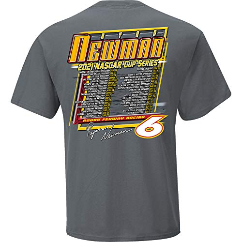 Checkered Flag Sports 2021 NASCAR Cup Series Schedule T-Shirt (Ryan Newman #6/Charcoal, Large)