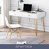 Escritorio para computadora con 2 cajones de madera simple para estudio con marco de acero, mesa de PC de estilo moderno y simple, ideal para dormitorio y oficina B 80 cm a 80 cm