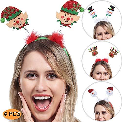 ADJOY Christmas Headbands for Kids Boys Girls Teenagers Women Men - Santa's Little Helper Headwear Snowman Santa Claus Reindeer Headband - One Size Fits All (4 PCS)