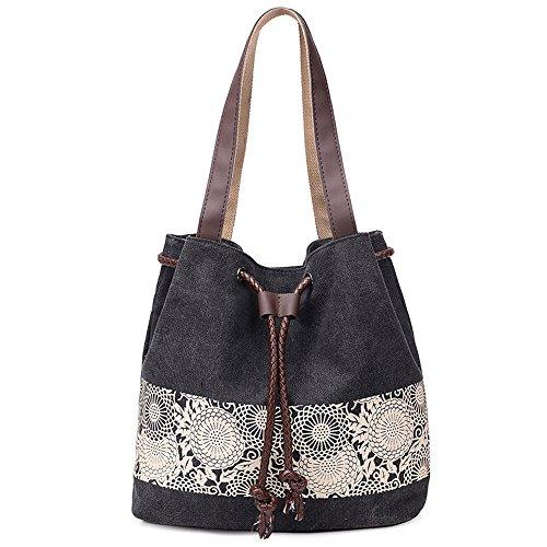 Hiigoo Printing Canvas Shoulder Bag Retro Casual Handbags Messenger Bags (Black)