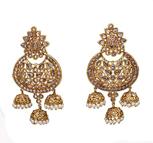 Suryagems Stylish Chandbali Dangle Jhumki Earrings Gold Plated Design Indian Handcrafted Fashion Jewellery for Women and Girls ME 167-LCT