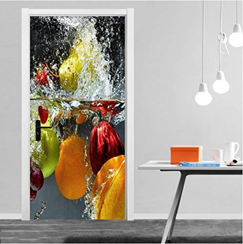 ZPCR Canvas Prints Pictures 3D Door Sticker Fruits DIY Home Decor Decals Self Adhesive Waterproof Mural for Bedroom Door Renovation